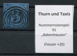 "Thurn Und Taxis: 3 Kr. MiNr. 8 Nummernstempel 91 ""Babenhausen"" Gestempelt / Used / Oblitéré - Thurn And Taxis"