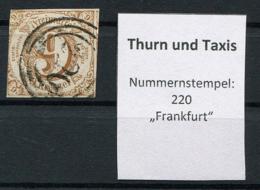 "Thurn Und Taxis: 9 Kr. MiNr. 34 Nummernstempel 220 ""Frankfurt"" Gestempelt / Used / Oblitéré - Thurn And Taxis"