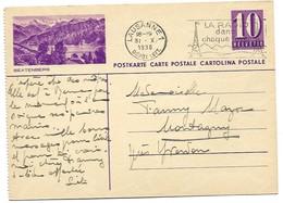 """12 - 19 - Entier Postal Avec Illustration """"Beatenberg"""" Oblit Mécanique 1938 - Entiers Postaux"""
