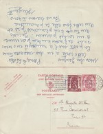 DDW 734 - Moins 10 % - Entier Postal Petit Sceau Avec Réponse + TP Dito - BRUXELLES 1946 Vers PARIS Et Vice-versa - Postcards [1934-51]