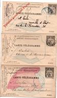 3 Carte-télégramme Pneumatiques - Paris 1895 - Modèles Différents - Pneumatiques