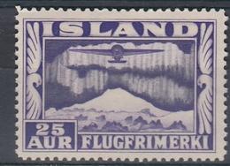 +Iceland 1934. Airmail 25 Aur Perf. 14x14. AFA/ Michel 177 /B.  MNH(**). - Posta Aerea
