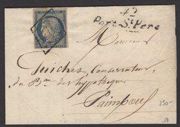Pli Avec 25c Ceres Non Dentelé Oblt GRILLE + Cursive 42/ Port St Pierre Pour PAIMBOEUF - 1849-1876: Période Classique