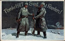 Cp Glückwunsch Neujahr, Parole 1917 Sieg Und Frieden, Soldaten,Bajonett,Der Feldgraue Weihnachtsmann - New Year