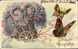 Gaufré Lithographie Glückwunsch Neujahr, Jahreszahl 1904, Schmetterlinge, Blumen - New Year
