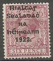 Ireland - 1922 Provisional Overprint 6d  (Thom)   MH *   Sc 31 Inv - 1922 Governo Provvisorio