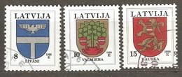 Latvia: 3 Used Stamps, Coats Of Arms: Livani, Valmiera, Bauska, Mi#399, 463, 485. - Lettland