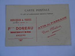 CPA  Publicité MERCERIE TISSUS F. DOREAU ANGERS 1908  Les Métiers Qui Disparaissent Vieille Paysanne Vendéenne    TBE - Advertising