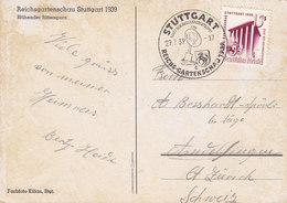 Deutsches Reich PPC Sonderstempel STUTTGART Reichsgartenschau 1939 To ZÜRICH Schweiz Blühender Rittersporn (2 Scans) - Covers & Documents