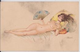 Suzanne Meunier Artiste Peintre Illustratrice Pin-up En Costume D'Eve Série 26 Femme Et Eventail Sein Nu - Meunier, S.