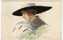 RITRATTO DI DONNA ELEGANTE - ILLUSTRATORE G. MUGGIONI ? - 1916 - Vedi Retro - Formato Piccolo - Otros Ilustradores