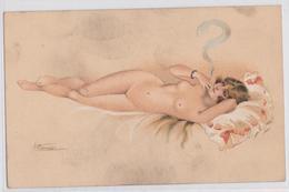 Suzanne Meunier Artiste Peintre Illustratrice Pin-up En Costume D'Eve Série 26 Femme Sur Oreiller Et Cigarette Sein Nu - Meunier, S.