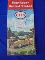 CARTE ROUTIERE ESSO Standard OIL SOUTHEAST USA 1951 - Cartes Routières