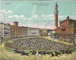 Siena-Corsa Del Palio Piazza Vittorio Emanuele 2 Luglio - 16 Agosto Cartolina Doppia - Siena