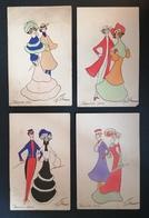 4 Cpa. Illustrations. Couples. Rehaussées Aquarelle. Série Favorite. - Illustrators & Photographers