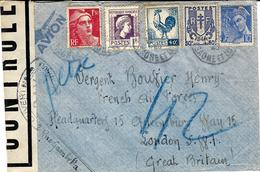 1945- Enveloppe D'ALGER  Par Avion Taxe 3,50 Composée  Pour Un Français à Londres -censure Française P A Y - WW II