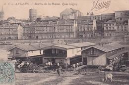 D49  ANGERS  Bord De La Maine Quai Ligny  ........ Avec Les Bateaux Lavoirs  ........ Carte Peu Courante - Angers