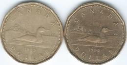 Canada - Elizabeth II - 1989 - Dollar - 2nd Portrait - KM157  & 1990 - 3rd Portrait - KM186 - Canada