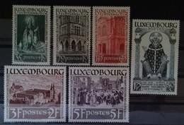 LUXEMBOURG N° 300 à 305 COTE 70 € NEUF ** MNH SERIE COMPLETE DE 5 VALEURS SAINT WILLIBRORD 1938 TB - Neufs