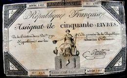 ASSIGNAT REVOLUTION FRANCAISE CINQUANTE LIVRES 14 DECEMBRE 1792 ETAT MOYEN - Coins & Banknotes