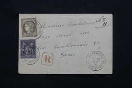 FRANCE - Enveloppe En Recommandé De Les Hermittes Pour Paris En 1880, Affranchissement Cérès 30ct + Sage 10ct - L 57590 - Marcophilie (Lettres)