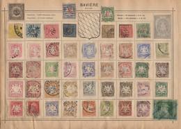 Petite Collection De Timbres Très Anciens D'Allemagne Sur 6 Pages D'un Viel Album MAURY Timbres Tous états - Germania