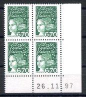 RC 16818 FRANCE N° 3098 COIN DATÉ MARIANNE DE LUQUET 26.11.97 NEUF ** TB MNH VF - 1990-1999