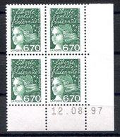 RC 16821 FRANCE N° 3098 COIN DATÉ MARIANNE DE LUQUET 12.08.97 NEUF ** TB MNH VF - 1990-1999
