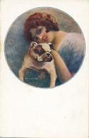 J88 - Illustrateur C. Monestier - Belle élégante Au Petit Chien - Monestier, C.