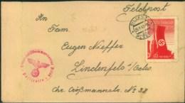 """1943, Feldpostbrief """"Fliegerhorstkommandantur Pilsen"""" Mit Vignette """"Deutsche Volkstage"""" - Lettres"""