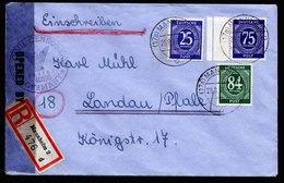 A6678) Kontrollrat R-Brief Von Mannheim 26.08.46 N. Landau Mit US Zensur Und Zensorstempel - Gemeinschaftsausgaben