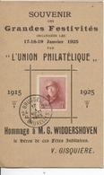 REF815/ TP 168 Albert Casqué S/CP Souvenir Festivités Union Philatélique C.Agence Bruxelles 24 17/1/1925 - Marcophilie