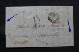 ETATS UNIS - Lettre De New York Pour La France En 1851 , Voir Cachets Et Taxes D'acheminement - L 57612 - …-1845 Vorphilatelie