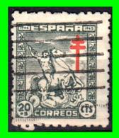 ESPAÑA SELLO AÑO 1944 PRO TUBERCULOSIS CRUZ DE LORENA VALOR 20 CENTIMOS - 1931-Heute: 2. Rep. - ... Juan Carlos I