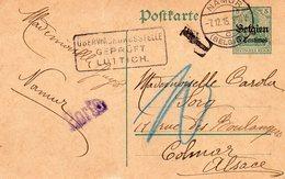 Gouvernement Général - CP N° 1 De NAMUR Vers Colmar (F) - Censure Lüttich - Taxation - Griffe PORTO - Entiers Postaux