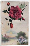 Cpa Fantaisie Fleur Bonne Annee - Ml 803 - Fleurs
