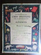1959 Esperanto International School Diploma, Novi Sad, Serbia - Diplômes & Bulletins Scolaires