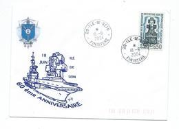 17592 - PORTE-AVIONS CHARLES DE GAULLE - 18 JUIN 2004 -  ÎLE DE SEIN CACHET MANUEL ÎLE DE SEIN (Complément Au Dos) - Marcofilie (Brieven)