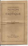 TARIFS 1930 . PÄRFUMERIE NINON ET PARFUMERIE EXOTIQUE .20 Pages - Catalogues