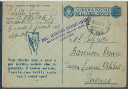 FRANCHIGIA PM 100 DIV.CACCIATORI DELLE ALPI I°REGGIMENTO ARTIGLIERIA  X FIRENZE - War 1939-45