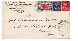 USA ETATS UNIS AFFRANCHISSEMENT COMPOSE SUR LETTRE DE LOS ANGELES POUR LA FRANCE 1939 - Briefe U. Dokumente
