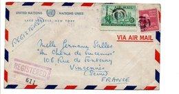 USA ETATS UNIS AFFRANCHISSEMENT COMPOSE SUR LETTRE RECOMMANDEE DE ONU NEW YORK POUR LA FRANCE 1950 - Vereinigte Staaten