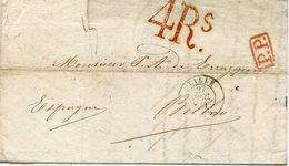 PREFILATELIA     Carta   Lille  A  Bilbao   (1- I -1845 )  - 078A - 1801-1848: Precursores XIX
