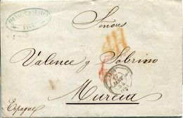 PREFILATELIA     Carta   Lyon (RF ) A  Murcia   ( 17-I-1854 )  - 080A - 1849-1876: Periodo Clásico