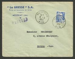 """AIN / MEZERIAT / Enveloppe Commerciale """" LA BRESSE S.A. Porcs & Salaisons """" / MARIANNE DE GANDON 1951 - Marcophilie (Lettres)"""