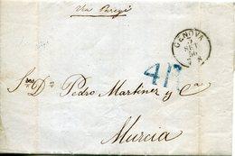 PREFILATELIA     Carta   Genova A  Murcia   ( 3-IX-1856 )  - 081A - Marcophilie (Lettres)