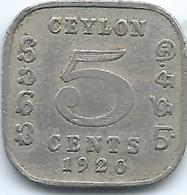 Ceylon - George V - 1920 - 5 Cents - KM108 - Sri Lanka