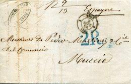 PREFILATELIA     Carta   Lyon  A  Murcia   ( 2-IX-1856 )  - 084A - 1849-1876: Periodo Clásico