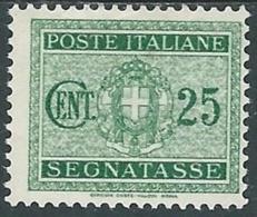 1934 REGNO SEGNATASSE 25 CENT MH * - RC11-6 - 1900-44 Vittorio Emanuele III
