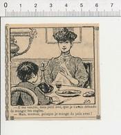 2 Scans 1908 Humour Heure De L'Appel à La Caserne Enfant Qui Se Mange Les Ongles Avec Du Pain Carafe De Vin 51B12 - Vieux Papiers